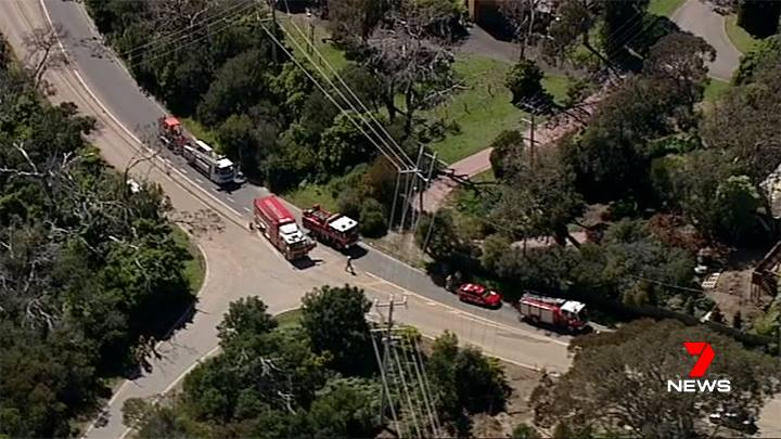 Aerial shot of firefighters attending the scene of the damaged gas transmission pipeline | Pic credit - Channel 7